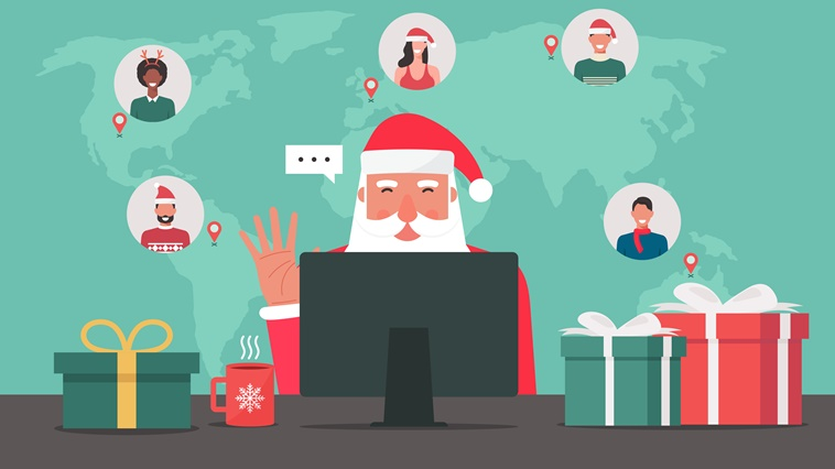Modern Santa Claus sitting and using computer connecting to people around the world with gifts on the table, vector illustration